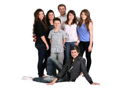 large caring family of seven Stock Photo - 9852099
