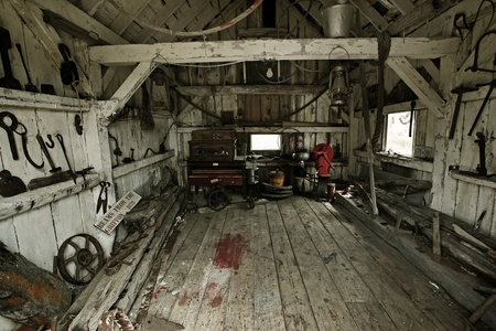 workhouse: inside of a heritage tool shed  Stock Photo
