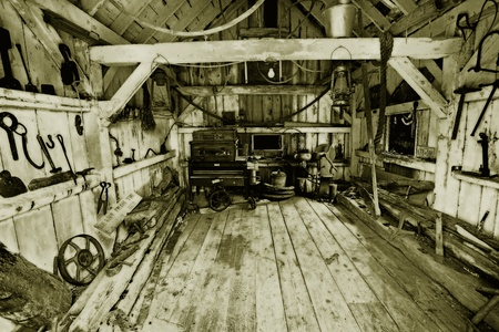 inside of a heritage tool shed  Stock Photo