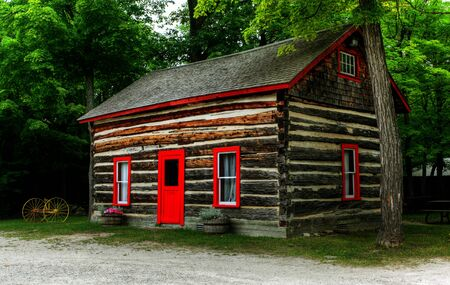 log cabin: log shack in the Canadian countryside;  Stock Photo