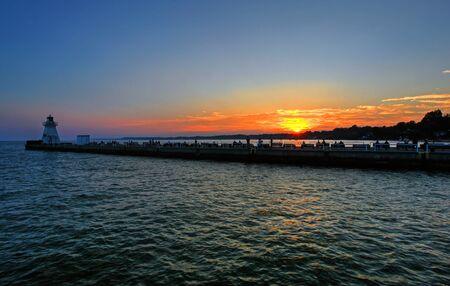 erie: sunset over port dover on lake erie Stock Photo