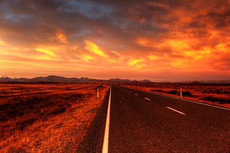 lonely country road landscape in vibrant colors photo
