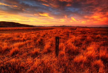 lonely country road landscape in vibrant colors Stock Photo - 9852567