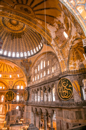 ISTANBUL, TURKEY- MARCH 11: The Hagia Sophia (The Church of the Holy Wisdom or Ayasofya in Turkish) is a spectacular Byzantine landmark and world wonder in Istanbul, Turkey, with an interior view
