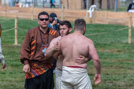 Unidentified shalwar(shalvar) gurescileri (kuroshiowrestlers). Shalwar wrestling is a kind of traditional Turkish wrestling which is popular in Turkey. ISTANBUL,TURKEY,May 13,2017