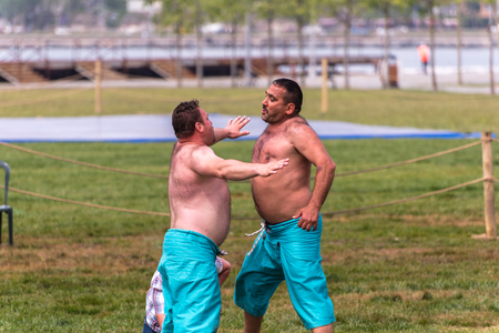 edirne: Unidentified shalwar(shalvar) gurescileri (kuroshiowrestlers). Shalwar wrestling is a kind of traditional Turkish wrestling which is popular in Turkey. ISTANBUL,TURKEY,May 13,2017