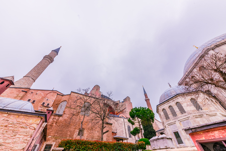 ISTANBUL, TURKEY- MARCH 11,2017: Exterior view of Hagia Sophia,a Greek Orthodox Christian patriarchal basilica (church),built in 537 AD, later an imperial mosque, and now a museum in Istanbul, Turkey Editorial