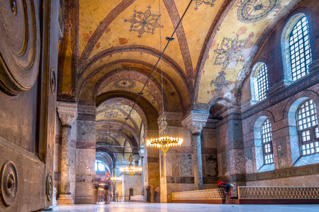 People explore Hagia Sophia Greek Orthodox Christian patriarchal basilica or church later imperial mosque, and now museum in Istanbul, Turkey,March,11 2017.