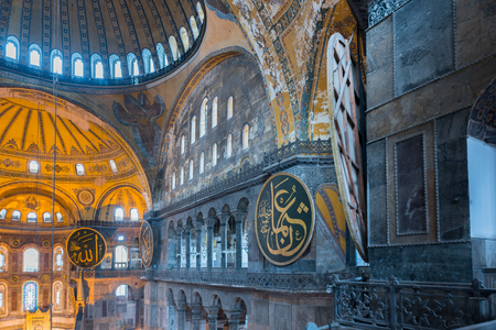 Interior detailed view of Hagia Sophia,a Greek Orthodox Christian patriarchal basilica or church was built in 537 AD, later imperial mosque, and now museum in Istanbul, Turkey,March,11 2017.