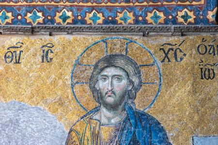 Jesus Christ Pantocrator,Detail from deesis Byzantine mosaic in Hagia Sophia,Greek Orthodox Christian patriarchal basilica,church.Istanbul, Turkey,March,11 2017.