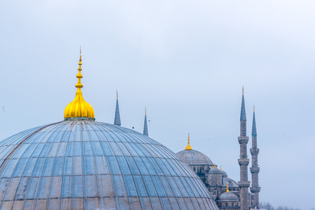 View of Blue Mosque and Hagia Sophia domes from Hagia Sophia, Greek Orthodox Christian patriarchal basilica, church.Istanbul, Turkey, March, 11 2017.