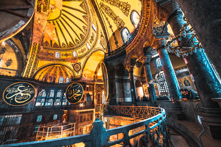 ISTANBUL, TURKEY- MARCH 11, 2017: Interior of Hagia Sophia,a Greek Orthodox Christian patriarchal basilica (church),built in 537 AD, later an imperial mosque, and now a museum in Istanbul, Turkey. Editorial