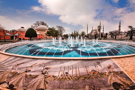Sultanahmet Park with view of Blue Mosque also called Sultan Ahmed Mosque or Sultan Ahmet Mosque with fountain in the foreground, Istanbul, Turkey.MARCH 11,2017