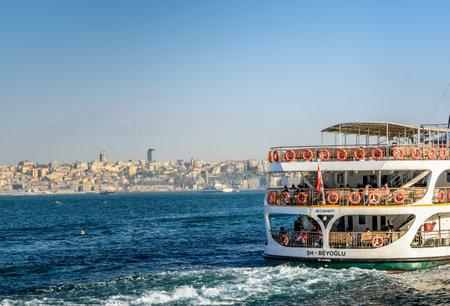 Traditional public ferry going from Kadikoy to Eminonu pier.ISTANBUL,TURKEY,APRIL 20,2017 Editorial