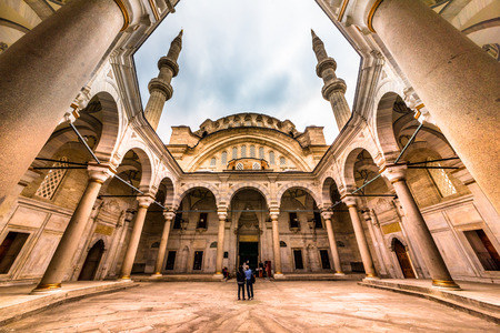 Exterior view of Nuru osmaniye Mosque that was commissioned from order of Sultan Mahmut I and completed by Sultan Osman III in 1755.ISTANBUL,TURKEY- APRIL 17, 2017