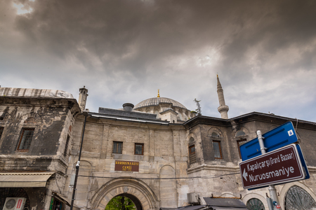 ISTANBUL,TURKEY- APRIL 17, 2017: Exterior view of of Nuruosmaniye Mosque. The mosque was commissioned from the order of Sultan Mahmut I beginning in 1748 and completed by Sultan Osman III in 1755