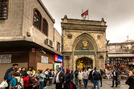 Unidentified people visiting the Grand Bazaar for shopping in  Istanbul, Turkey.ISTANBUL,TURKEY- APRIL 17, 2017