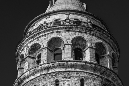 View of Galata Tower(Turkish: Galata Kulesi) called Christ Tower by Genoese a famous medieval landmark architecture in Istanbul, Turkey,February 18,2017.