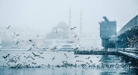 Winter seascape view of Popular New Mosgue and Galata Bridge.Seagulls flying over bosphorus on a snowy day in winter.