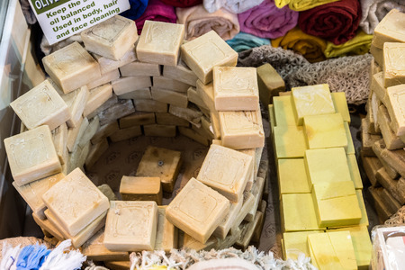 Different kind of Turkish natural handmade fruit soaps for sale in Grand Bazaar, Istanbul, Turkey Stock Photo