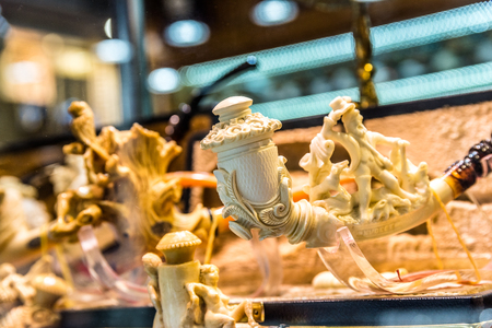 Handmade ivory pipe up for sale on display at Grand Bazaar in Istanbul,Turkey