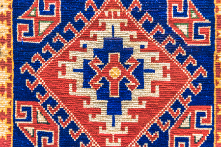 Handmade woven rug and tapestry,vintage carpets on a Turkish bazaar. Traditional Turkey rugs  in Egypt Bazaar Turkey Stock Photo