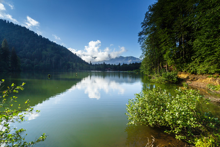 Landscape view of Karagol (Black lake) a popular destination for tourists,locals,campers and travelers in Eastern Black Sea,Savsat, Artvin, Turkey Stock Photo