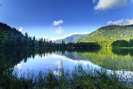 Landscape view of Karagol (Black lake) a popular destination for tourists,locals,campers and travelers in Eastern Black Sea,Savsat, Artvin, Turkey Banco de Imagens