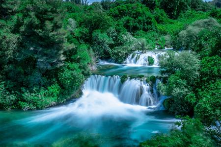 Long Exposure of waterfall in Krka National Park ,one of the Croatian national parks in Sibenik,Croatia.