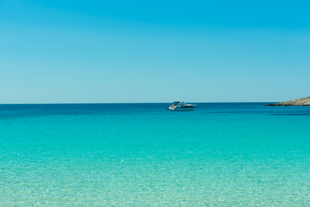 The Yacht  in a small bay in national park Kornati. Croatia:SIBENIK,CROATIA,May 28,2017 Stock Photo