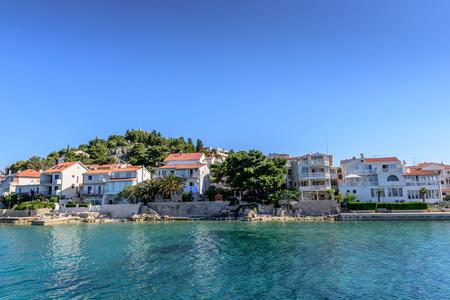View of a small bay in national park Kornati   in Sibenik,Croatia.Mediterranean coast landscape in Dalmatic. Kornati islands