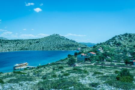 Yacht mored in a small bay in national park Kornati. Croatia.SIBENIK,CROATIA,May 28,2017