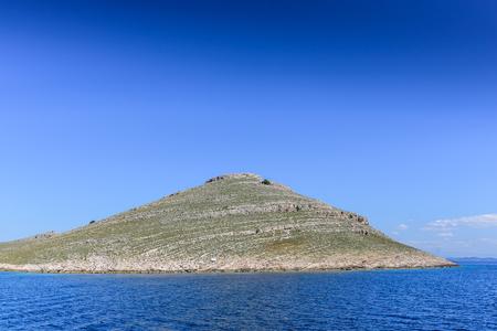 It is one of many islands of Kornati arhipelago, a national park in Croatia, located in central Dalmatia, in the Adriatic Sea.Mediterranean coast landscape in Dalmatic. Kornati islands  Stock Photo