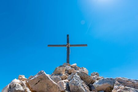 view of Cross overlooking of Kornati islands in National park in Croatia, Stock Photo