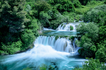 Long Exposure of waterfall in Krka National Park ,one of the Croatian national parks in Sibenik,Croatia.
