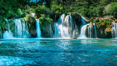 Long Exposure View View of waterfall Skradinski Buk in Krka National Park ,one of the Croatian national parks in Sibenik,Croatia.