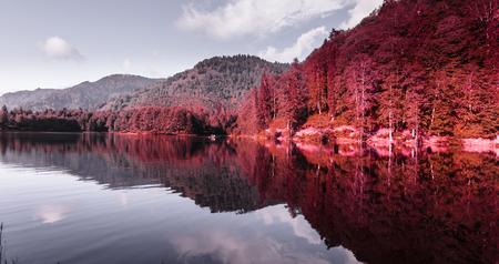 Soft autumn landscape view of Karagol (Black lake) a popular destination for tourists,locals,campers and travelers in Eastern Black Sea,Savsat, Artvin, Turkey.