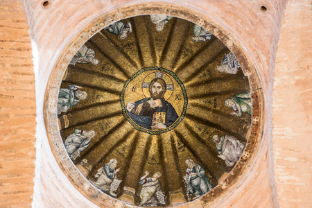 Viiew of central dome of the Pammakaristos Church depicting Jesus Pantocrator and apostles at Fethiye Camii in Carsamba vicinity of Fatih county of Istanbul,Turkey.15 October,2017