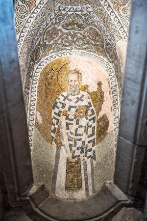 Ancient mosaics in Theotokos Pammakaristos Church at Fethiye Camii in Carsamba vicinity of Fatih county of Istanbul,Turkey.15 October,2017