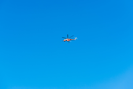 Helicopter flying in the blue sky in Istanbul,Turkey Stock Photo