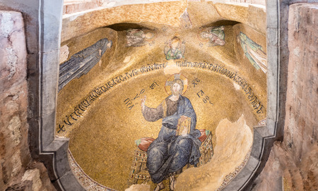 Ancient mosaic depicting Jesus Christ in Theotokos Pammakaristos Church at Fethiye Camii in Carsamba vicinity of Fatih county of Istanbul,Turkey.15 October,2017 Editorial