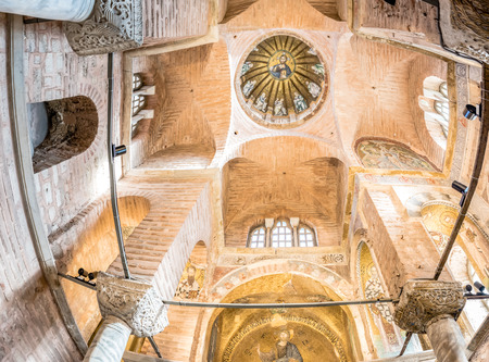 Interior panoramic view of central dome of the Pammakaristos Church depicting Jesus Pantocrator and apostles at Fethiye Camii in Carsamba vicinity of Fatih county of Istanbul,Turkey.15 October,2017
