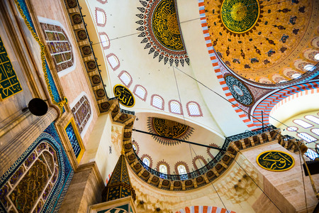 Interior decoration and artworks of Suleymaniye mosque.Walls,Ceiling and domes decorated with Islamic elements and designed by Ottoman architect Sinan.Istanbul,Turkey Editorial