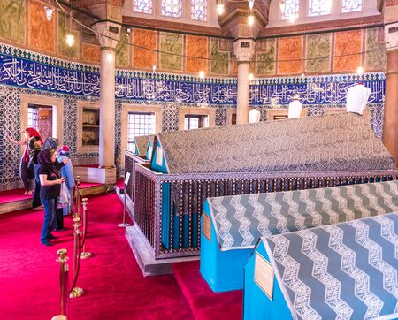 Interior view of Tomb of Hurrem (Roksolana) Sultan who is wife of the legendary Turkish Sultan Suleyman in Suleymaniye mosque, Istanbul.04 June,2017