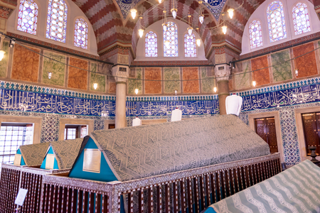 Interior view of Tomb of Hurrem (Roksolana) Sultan who is wife of the legendary Turkish Sultan Suleyman in Suleymaniye mosque, Istanbul.