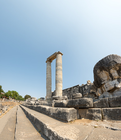 Exterior high resolution panoramic view Apollo Temple at Didyma in Didim,Aydin,Turkey. Stock Photo