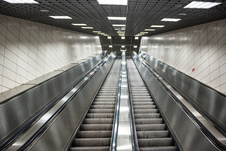 Exceptionnel Moving Stairs In Underground.Escalator Stairs In Metro Station. Stock Photo    91732549