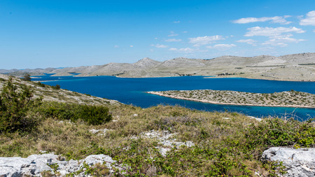 Panoramic view of Kornati islands in national park Kornati  in Sibenik,Croatia. Stock Photo