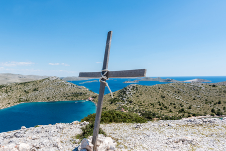 Aerial view of Cross overlooking of  Kornati islands in national park Kornati in Sibenik,Croatia. Stock Photo