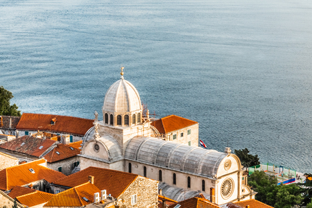 Aerial top day view of St James cathedral in Sibenik,Croatia.